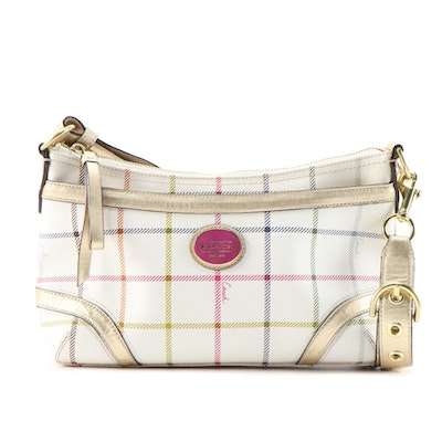 Coach Two-Way Bag in Tattersall Plaid Coated Canvas and Gold Metallic Leather