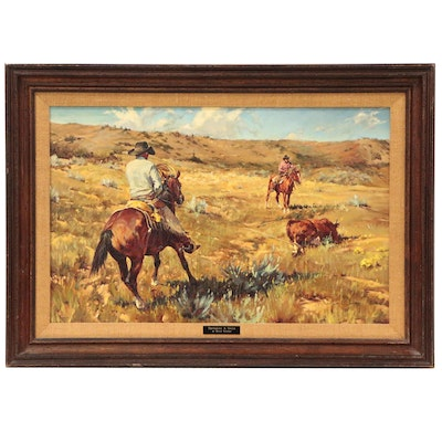 """Rygh Westby Oil Painting """"Doctoring a Steer"""""""