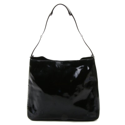 Gucci Black Patent Leather and Suede Black Satchel Shoulder Bag with Zip Pouch