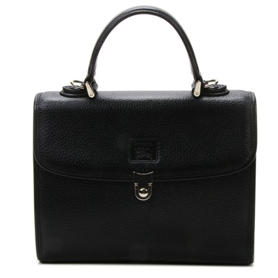 Burberry Black Pebbled Leather Top Handle Bag