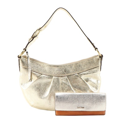 Coach Pleated Soho Bag in Metallic Gold Leather with Two-Tone Leather Wallet