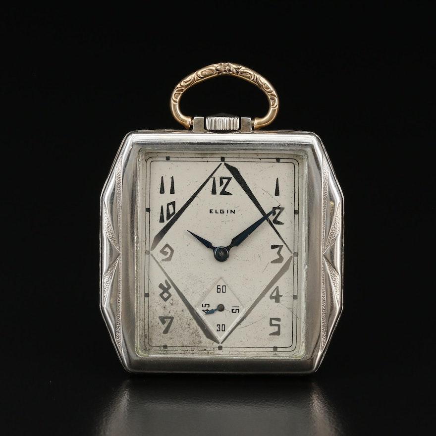 1928 Elgin 14K Gold Filled Open Face Pocket Watch