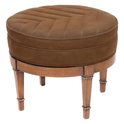 Suede Upholstered Swivel Footstool, Late 20th Century