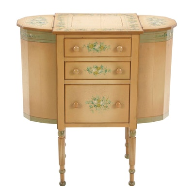 Paint-Decorated Martha Washington Sewing Cabinet with Supplies