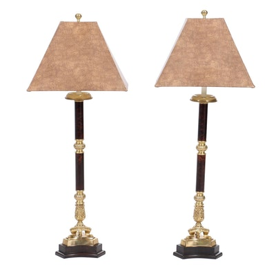 Pair of Frederick Cooper Neoclassical Style Brass Candlestick Table Lamps