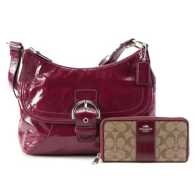 Coach Soho Plum Patent Leather Convertible Bag with Coach Accordion Zip Wallet