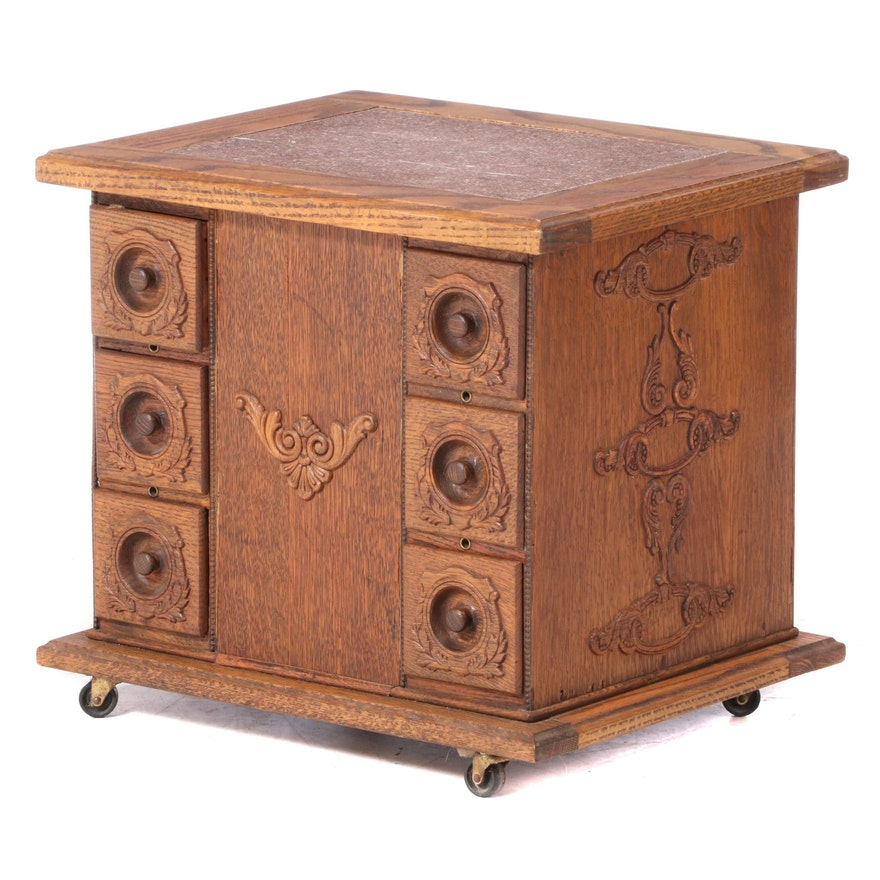 Late Victorian Oak Sewing Cabinet End Table, Late 19th to Early 20th Century