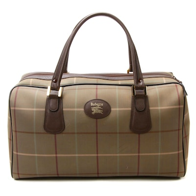 Burberrys Travel Duffel in Plaid Jacquard Canvas and Brown Saffiano Leather