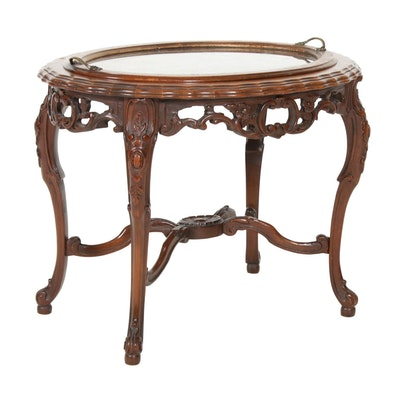 Rococo Style Mahogany and Glass Tray Top Table, Mid-20th Century