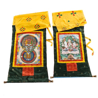 Tibetan Buddhist Gouache Thangkas of White Tara and Mandala