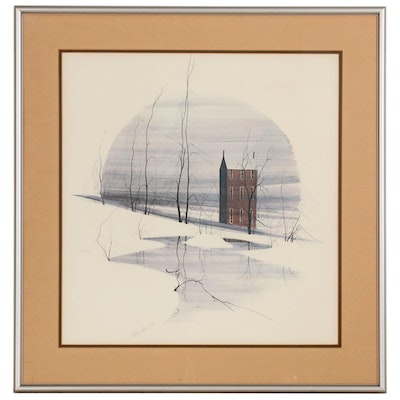 P. Buckley Moss Offset Lithograph of Winter Scene