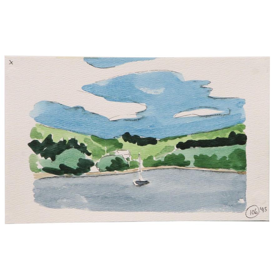 Robert Herrmann Landscape Study Watercolor Painting, 1995