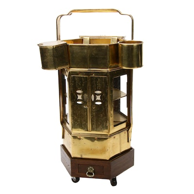 Chinese Brass Street Vendor Rice Cart, Mid-20th Century