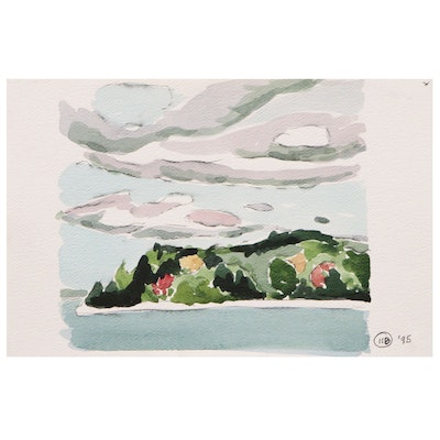 Robert Herrmann Landscape Study Watercolor Painting, 1995