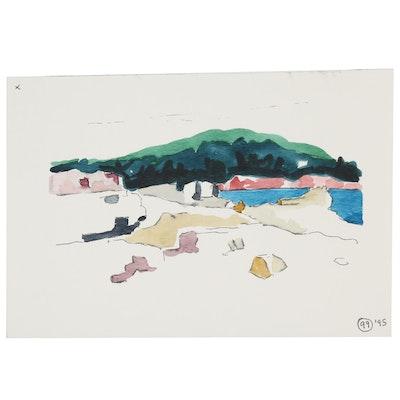 Robert Herrmann Landscape Study Watercolor Painting, 1996