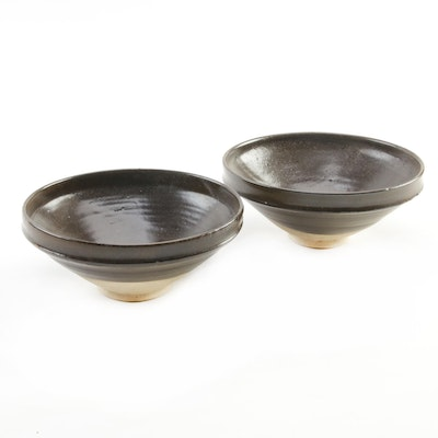 Pair of Chinese Brown Glaze Bowls
