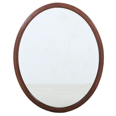 Wooden Oval Wall Mirror, Mid to Late 20th Century