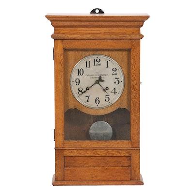 The Cincinnati Time Recorder Co. Oak Wall Clock, Mid-20th Century