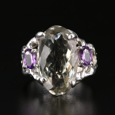 Sterling Silver Prasiolite and Amethyst Ring
