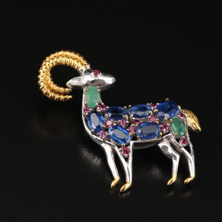 Sterling Silver Emerald, Kyanite and Rhodolite Garnet Ram Brooch