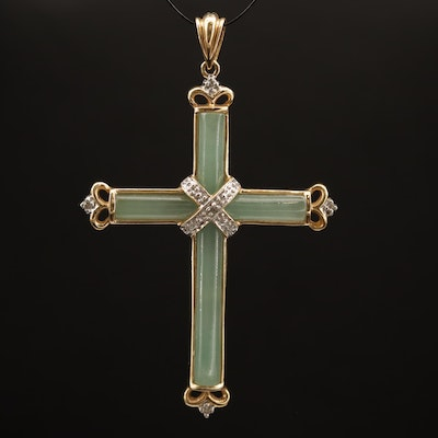 14K Jadeite and Diamond Cross Pendant