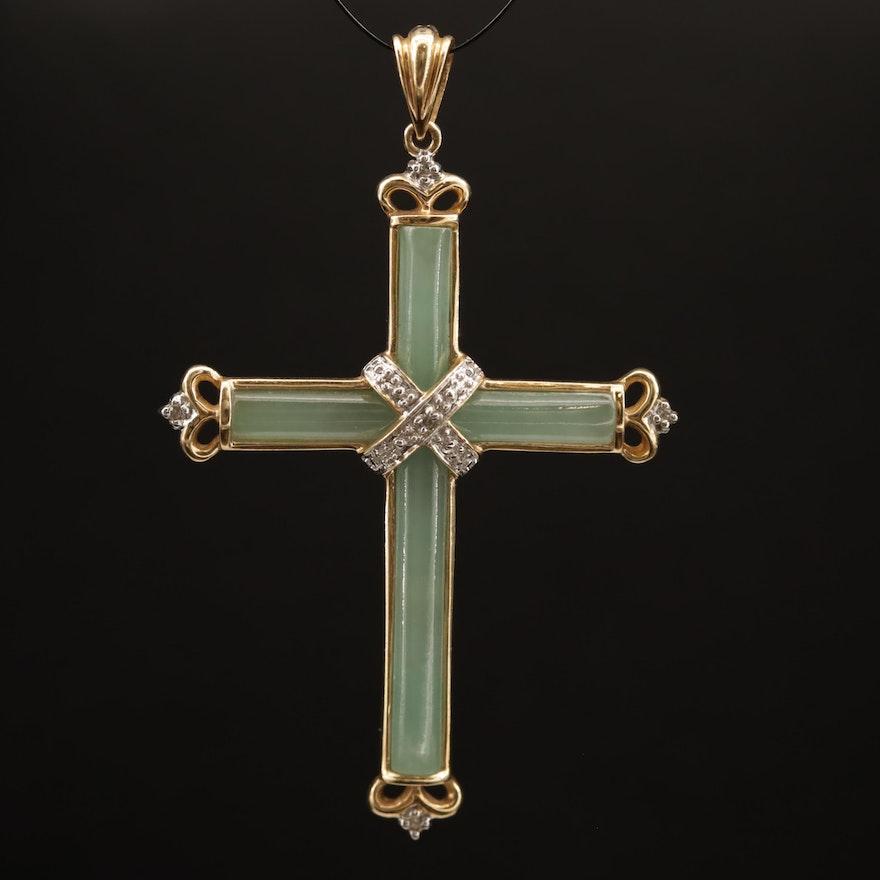 14K Jadeite and Diamond Cross Pendant