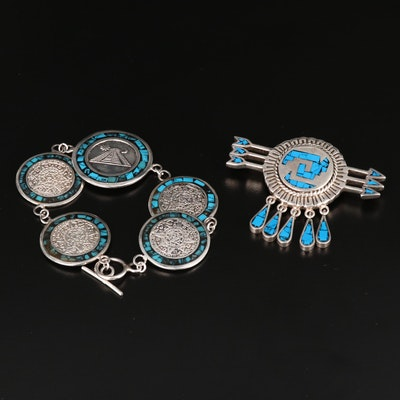 Mexican Sterling Silver Stone Chip Arrow Brooch and Aztec Bracelet