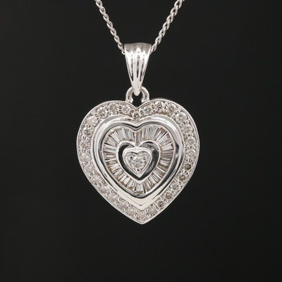 14K 1.21 CTW Diamond Heart Necklace