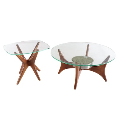 Mid Century Modern Glass Top Walnut Coffee and End Tables, Mid-20th Century