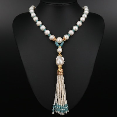 Sterling Cultured Pearl, Apatite and Ruby Strand Necklace