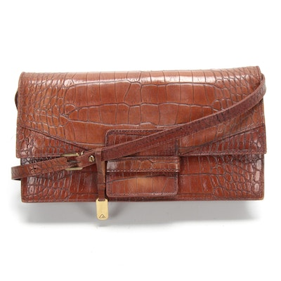 Liz Claiborne Croc-Embossed Brown Leather Shoulder Bag
