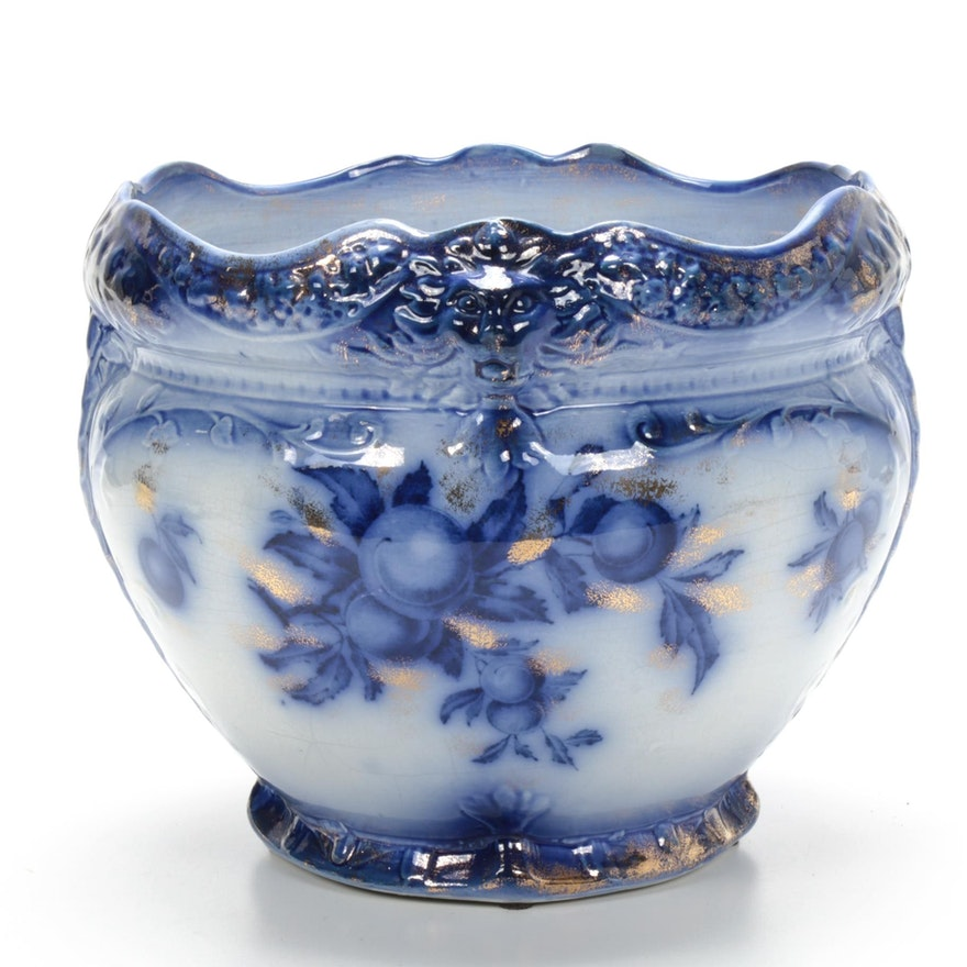 Flow Blue Jardinière with Lions on Rims and Painted Peaches