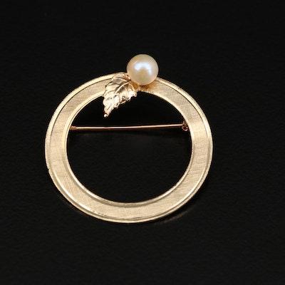 14K Cultured Pearl Textured Wreath Brooch