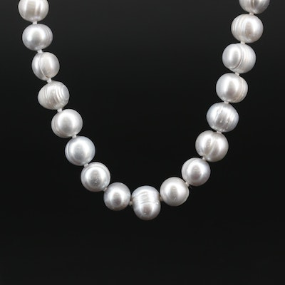 Hand Knotted Endless Semi-Baroque Pearl Necklace