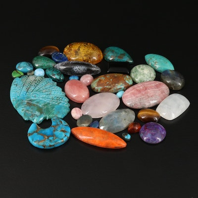 Loose Mixed Gemstones Including Tiger's Eye and Rainbow Moonstone