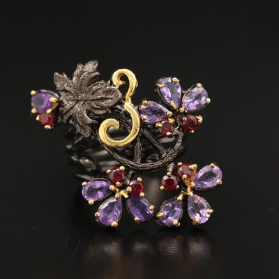 Sterling Amethyst and Garnet Floral Ring