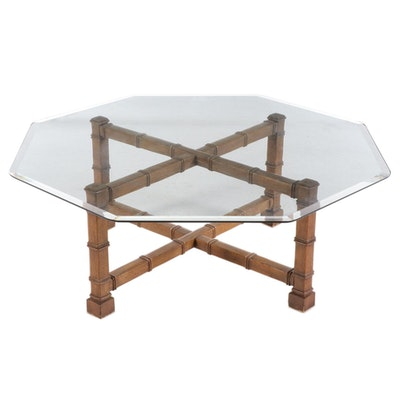 Bamboo Style Pecan and Octagonal Glass Coffee Table