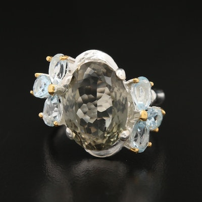 Sterling Silver Prasiolite and Blue Topaz Ring