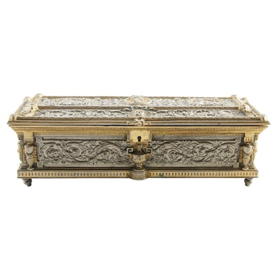 Neoclassical Style Cast Metal Jewelry Casket