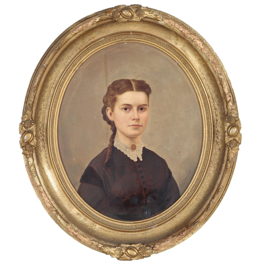 Oil Portrait of Mary Leona Crandall Lewis, Mid-Late 19th Century