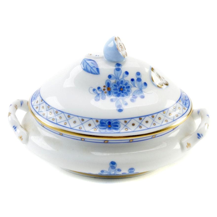 """Herend Blue """"Indian Basket"""" Porcelain Miniature Tureen"""