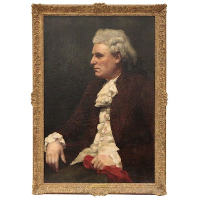 "Portrait of a Man Oil Painting ""Contemplation"", Late 18th-Early 19th Century"