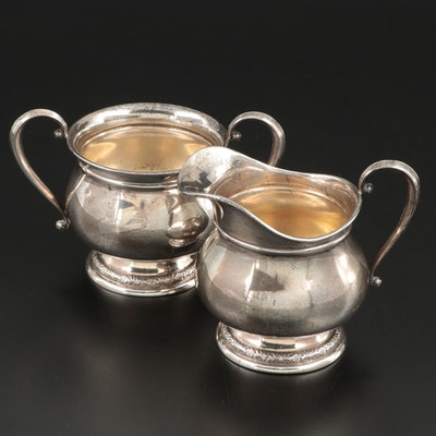 "International ""Prelude"" Sterling Silver Creamer and Sugar Bowl"