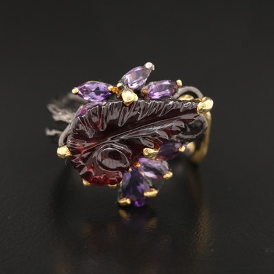 Oxidized Sterling Silver, Carved Garnet and Amethyst Biomorphic Ring