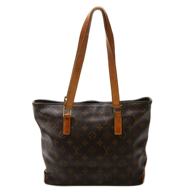 Louis Vuitton Cabas Piano Shoulder Tote Bag in Monogram Canvas and Leather