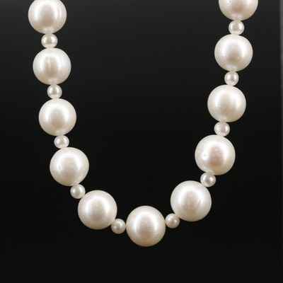 Strand of Pearls with Diamond Accented Sterling Clasp