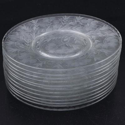 Etched Floral Glass Dessert Plates, Set of Twelve