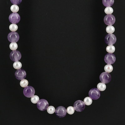 Amethyst and Cultured Pearl Strand Necklace with Sterling Silver Clasp