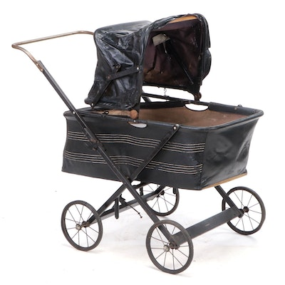 Siebert Oil Cloth and Wood Baby Carriage, Early to Mid-20th Century