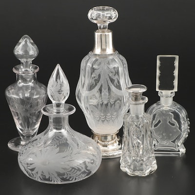 Gorham and Other Sterling and Etched Glass Perfume Bottles